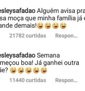 """Wesley Safadão ironiza após mulher dizer que é sua mãe: """"Minha família já está grande"""""""