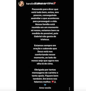 """Namorada de Gabriel Diniz volta às redes sociais após morte do cantor: """"Conseguindo assimilar aos poucos"""""""