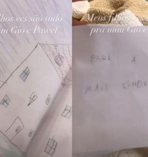 """Isolada com covid-19, Simaria ganha desenho dos filhos: """"tudo para mim"""""""