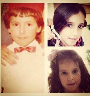 Rodrigo Faro compara foto da infância com os rostinhos das filhas
